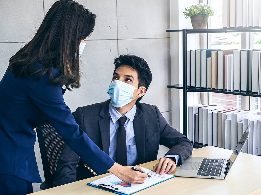 Business People with Medical Masks